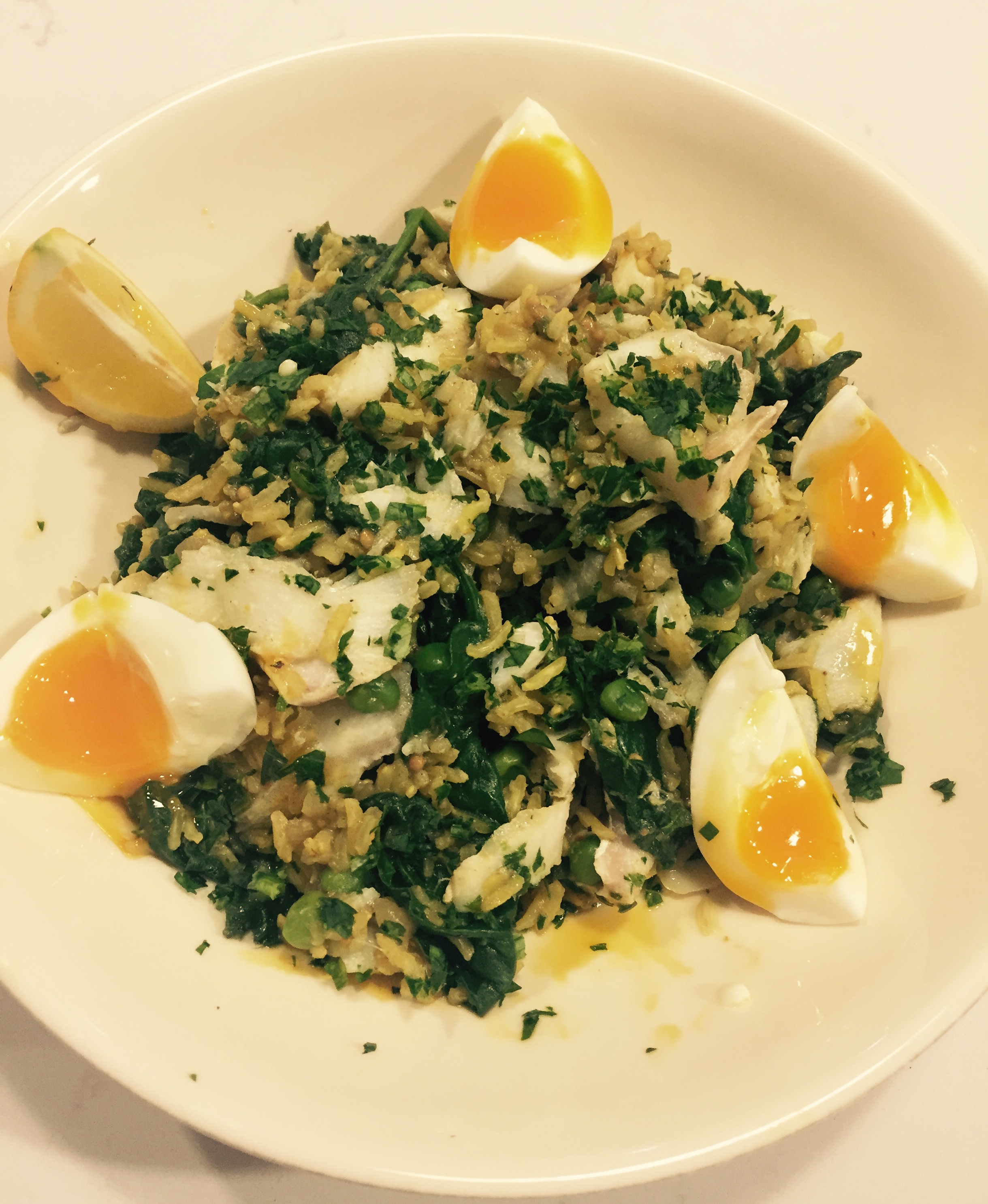 Brown rice and spinach kedgeree