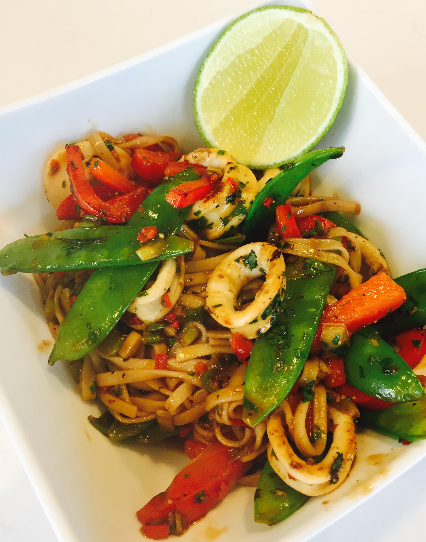 Spicy squid stir fry served