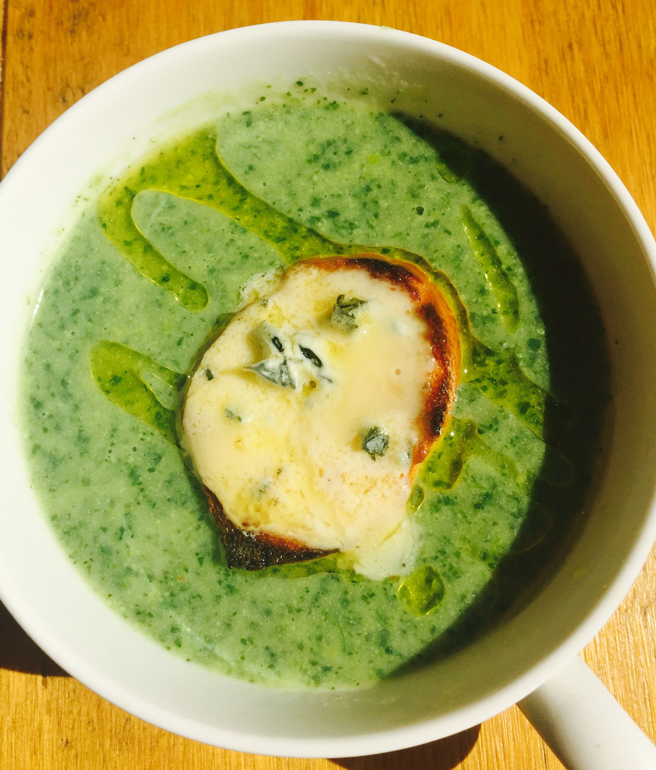 Watercress soup with blue cheese toasts